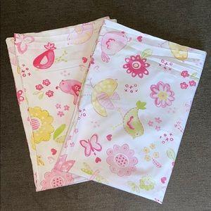 PBK Pink/Green Bird & Flowers Standard Pillowcases